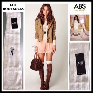 ABS LUXE OVER THE KNEE IVORY TALL BOOT SOCKS A2C